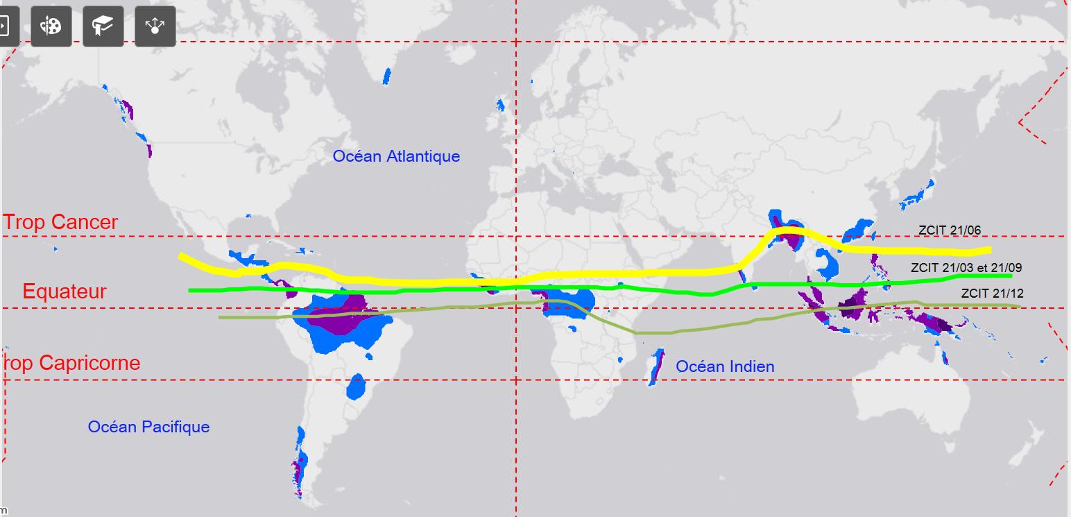 Annoter une carte et rédiger un texte pour justifier la géographie des zones de fortes précipitations