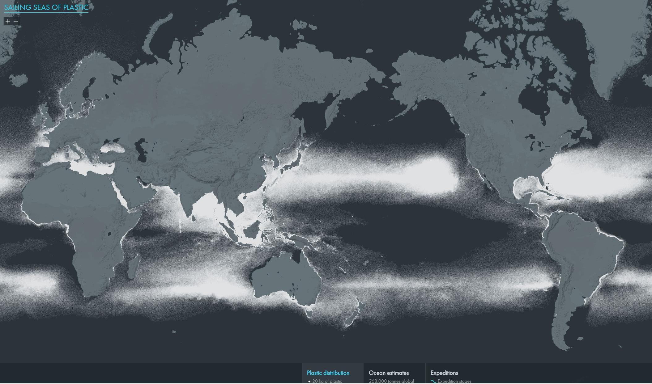 Rédiger un texte pour décrire la répartition spatiale des continents plastiques