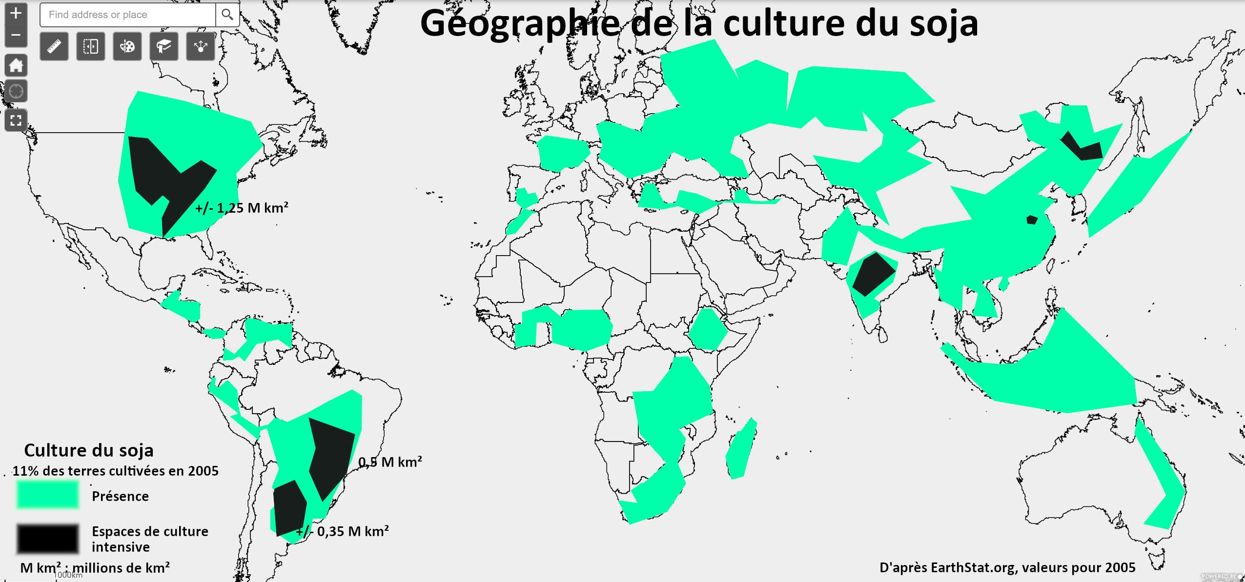 ** Annoter une carte pour décrire la répartition spatiale du soja dans le monde