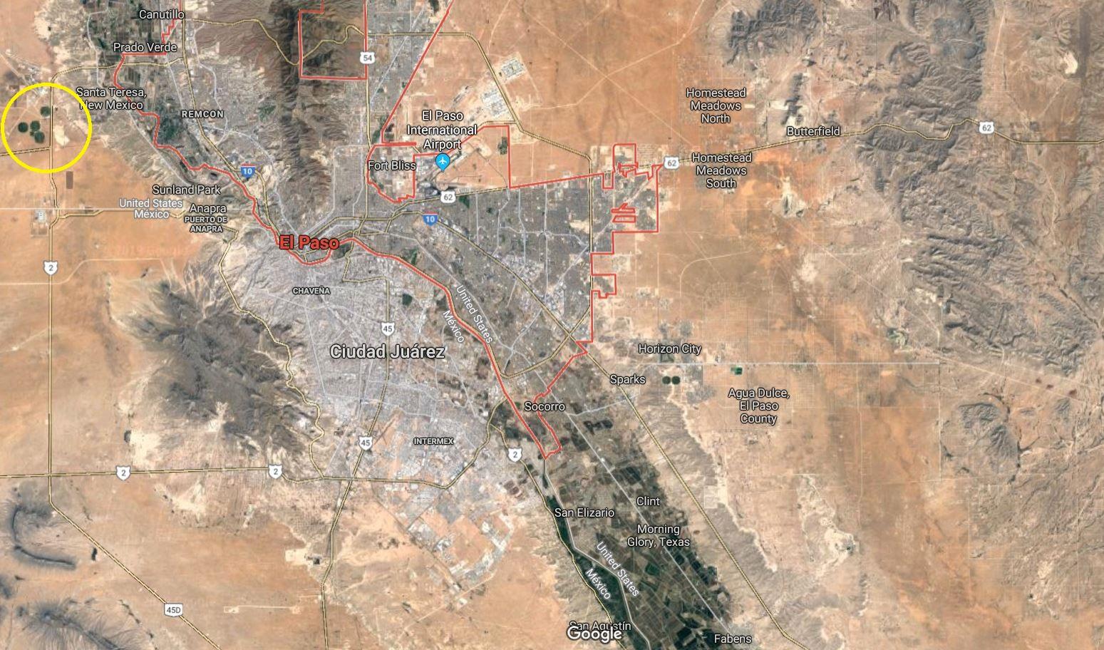 Annoter une carte pour mettre en évidence l'occupation du sol à la frontière USA/Mexique (El Paso/Ciudad Juarez))