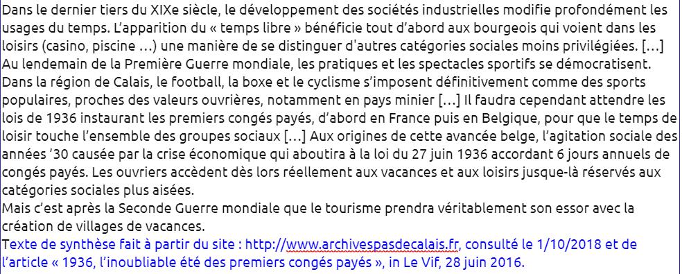 ** Mettre en évidence l'organisation du temps – Le cas des loisirs et du tourisme à Calais- 2.6 / 2.7 / 2.8