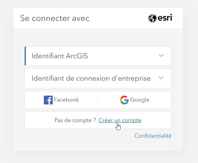 Se connecter à ArcGIS Online