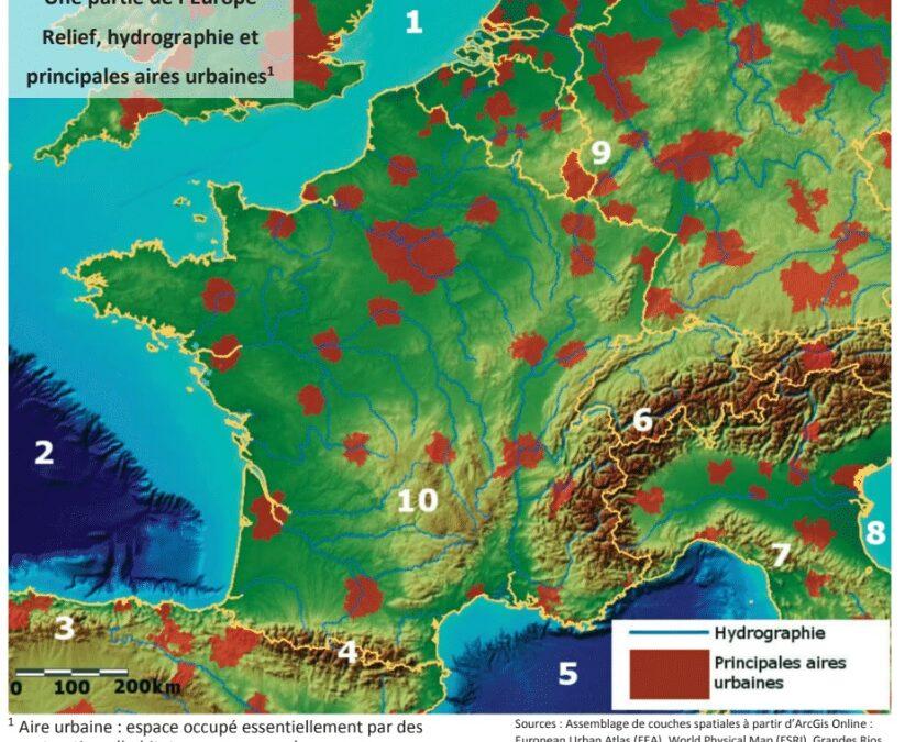 La répartition des aires urbaines en Europe en lien avec le relief et l'hydrographie