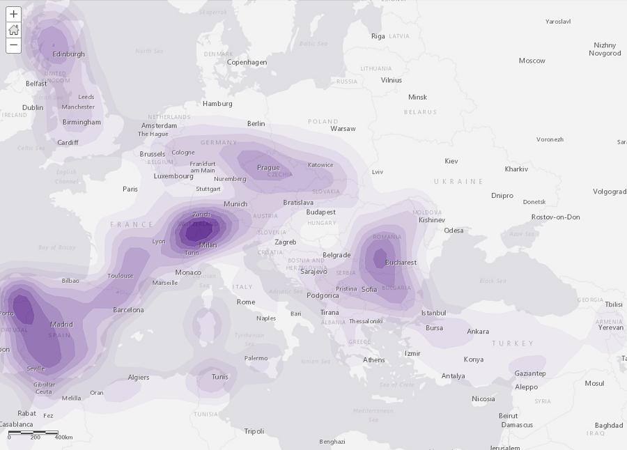 Analyse de densités – L'exemple de la répartition des barrages et des barrages pour l'irrigation à l'échelle de l'Europe