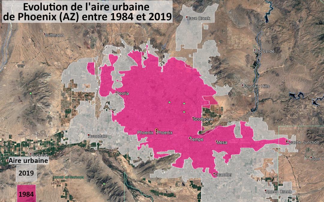Annoter une vue et rédiger un texte pour décrire des répartitions – L'aire urbaine et l'environnement de Phoenix (AZ)