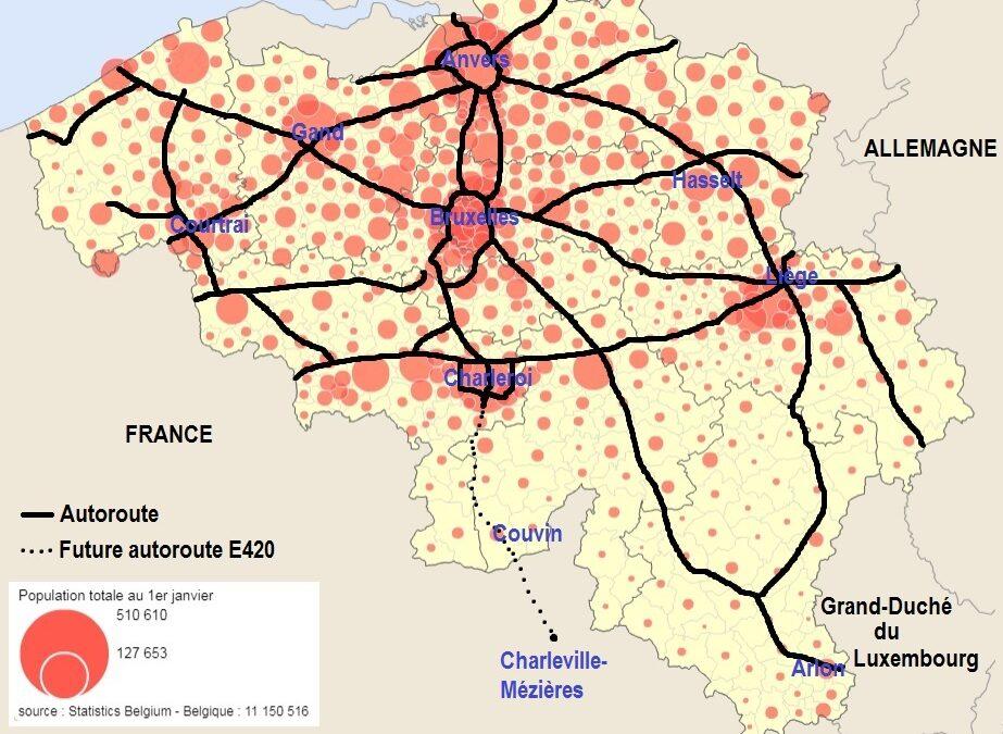 La répartition du réseau autoroutier en lien avec la répartition de la population en Belgique