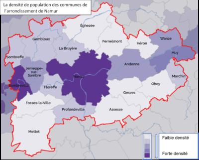 Situer la commune d'Andenne par rapport aux communes voisines en faisant référence à des directions cardinales et à des éléments de la légende